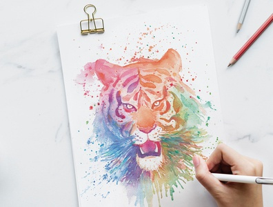 Colourful Tiger Watercolor Painting