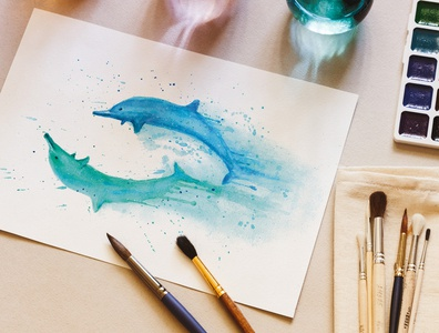 Awesome Dolphins Watercolor Painting