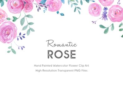 Watercolor Flower Clipart Romantic Rose/PNG files