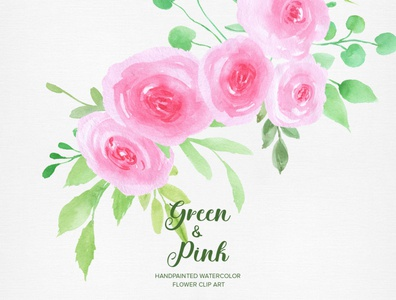 Green & Pink Rose Handpainted Watercolor Floral Clipart PNG