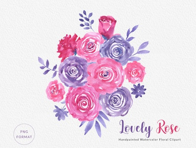 Lovely Rose - Watercolor Floral Clipart Bouquets & Wreaths PNG