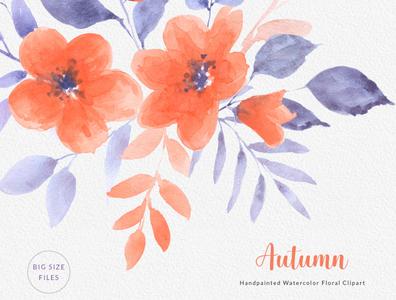 Autumn Orange Watercolor Clipart Bouquet Wreath Seamless Pattern
