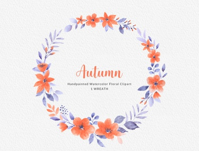 Autumn Orange Watercolor Clipart Bouquet Wreath Seamless Pattern
