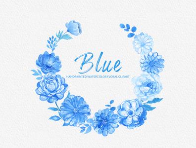 Blue Watercolor Flowers Handpainted Clipart Peonies