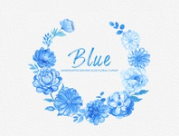 Blue Watercolor Flowers Handpainted Clipart Peonies