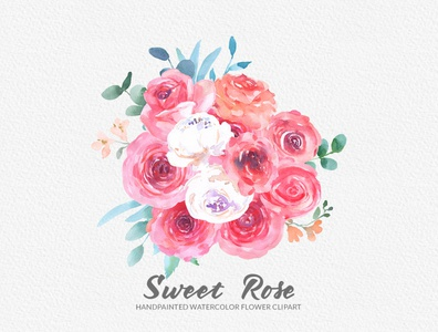 Sweet Rose Watercolor Floral Clipart