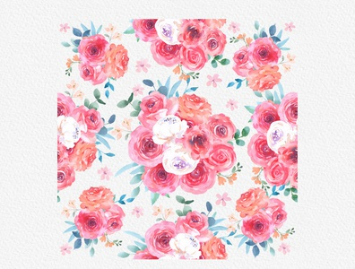 Sweet Rose Watercolor Floral Clipart Pattern