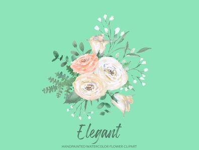Elegant White Rose Watercolor Floral Clipart
