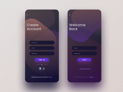 Sign in / Sign up UI welcome screen sign up form sign in form form ui mobile uiux user experience user interface design dark mode dark ui creative design mobile ui design mobile app ui design ux ui signup sign in log in screen sign up ui account