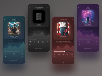 Music Player UI gradient ux ui screens mobile screens mobile app ui app design app mobile app mobile ui user experience user interface ux design ui design uiux music ui music player ui music album music player music app