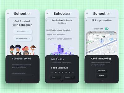 Schoober | Uber for School Kids app ui design neumorphic neumorphism app ui ux uber uber design app ui application ui booking app application mobile ui app design app mobile app uidesign user interface design user experience ux ui uiux