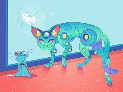 Love, cat's + robot's draw pennywise app branding character vector bender toy cartoon design illustration