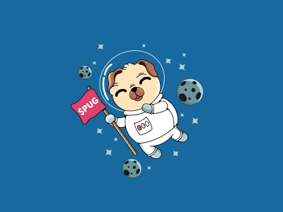 pug astronaut draw pennywise flat animation cartoons app character cartoon vector design illustration