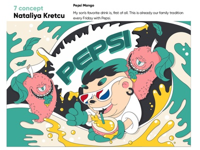 Mango Pepsi character cartoon vector design illustration graphic design