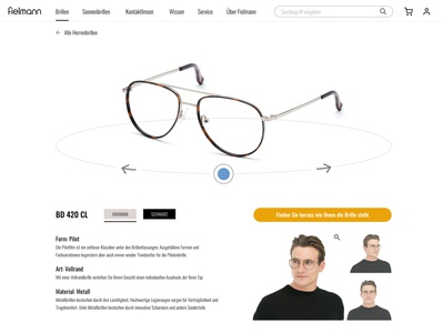 Fielmann V2 - first view product page ux design product page web design ui optician