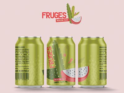 Fruges Dragon fruit Lager illustrator lager dragon fruit beer branding beer can beer packaging design packagingdesign vector illustration design