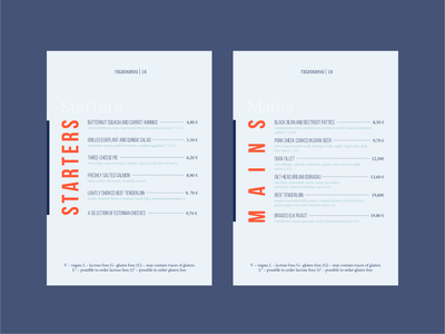Restaurant menu minimalistic blue orange layoutdesign starters mains food restaurant pricelist menu template menu design menu bar