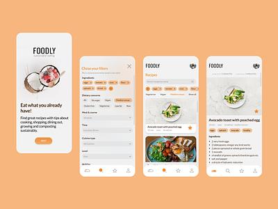 Foodly app for sustainable eating zero waste zerowaste sustainability orange ux ui  ux ui search search bar recipe app recipes food landingpage sustainable