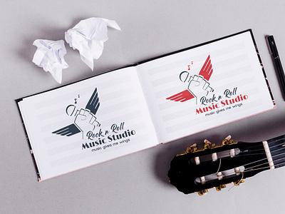 ROCK & Roll Music Studio Logo design graphics typography artistic vector microphone musician classic music wings wings logo wings rock and roll logo music studio music rock
