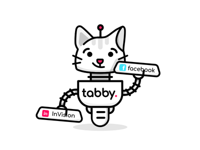 Tabby Bot Mascot 🤖 line mascot character tab tabs bot robot cat tabby