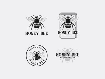 honey bee logo vintage premium vector