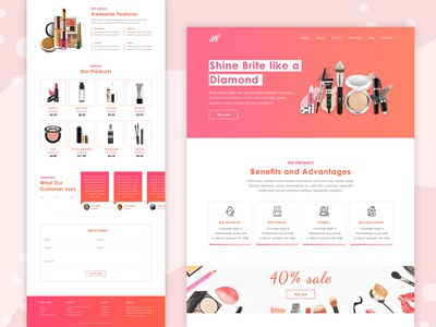 Cosmetic & Beauty Product Landing page