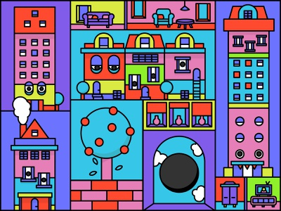 Houses with eyes lamp table holland netherland fun colorful illustration freework apple abstract art furniture store seat abstract flat household tree house furniture houses eyes