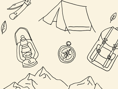 Outdoor pattern pattern draw fineliner netherlands dutch nature leave mountain knife tent compass clock camping outdoor outside