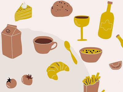 Illustration style for branding restaurant cake wine milk tea coffee tomatoe food retro sketch color palette illstrator vector holland handmade branding nederland netherlands illustration dutch restaurant