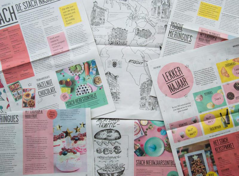 STACH newspaper handdraw dribbble illustrations utrecht recept colourful illustration food indesign nederland typography print feed newsletter paper news newspaper