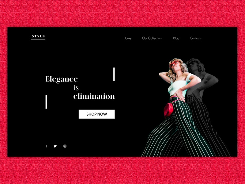 Style Shop Landing Page blackandwhite fashion fashion brand fashion design stylish shop clothing design clothing brand shopping adobe photoshop adobe xd adobexd visual design ui design uiux