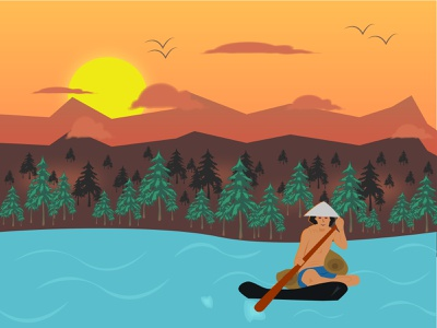 Boatman Small Artwork nature illustration scenarios visual art visual design concept art illustrations artist art illustrator