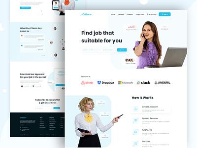 Job Zone V1 - Job Finder Website interface clean design ui ux website website design landing page job listing job search job website job finder job