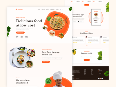Delicious - Food Website ux ui responsive clean website design design web landing page website products recipe quality delicious food delicious food resturant