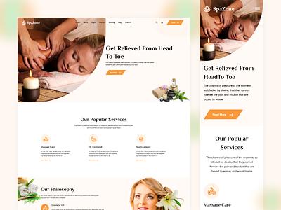 SpaZone - Spa & Beauty Landing Page interface wordpress responsive design responsive minimal website design ux ui web website landing page treatment cosmetic yoga makeup massage parlours salons beauty spa