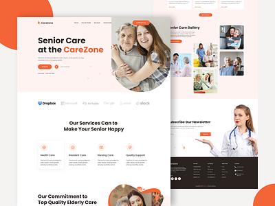 CareZone - Elderly Care Website themes web clean interface website design website landing page orphanage old age health care senior care elderly elderly care old school old care