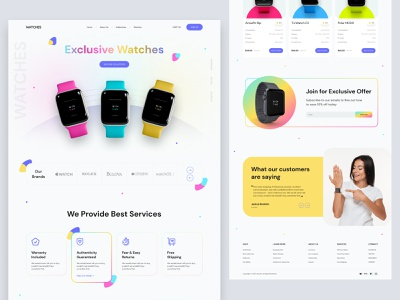 Product Landing Page-Smartwatch minimal colorful design web product graphic design shopify ecommerce product page branding design interface website design website ux ui landing page smart watch apple watch watch landing page watch