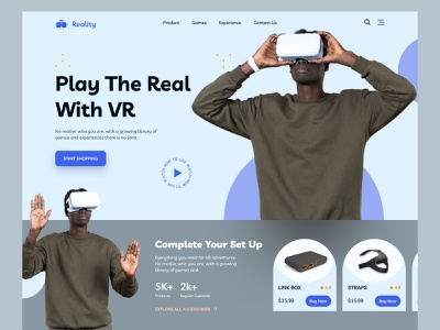 VR Store Landing Page website landing page homepage web design ecommerce mockup ux ui typography website design experience headset video oculus product vr design playstation game virtual reality vr