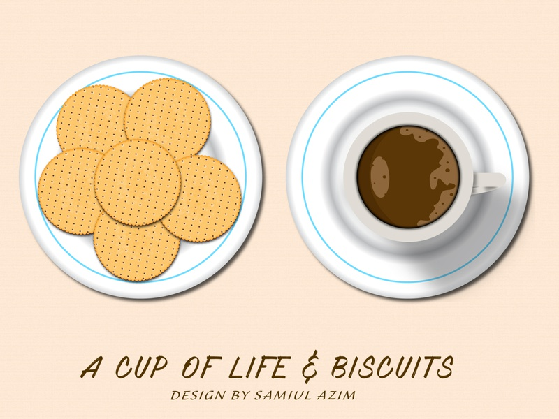 A Cup Of Life & biscuits Vector illustration