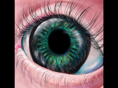 Art of an eye in realism on a graphic tablet