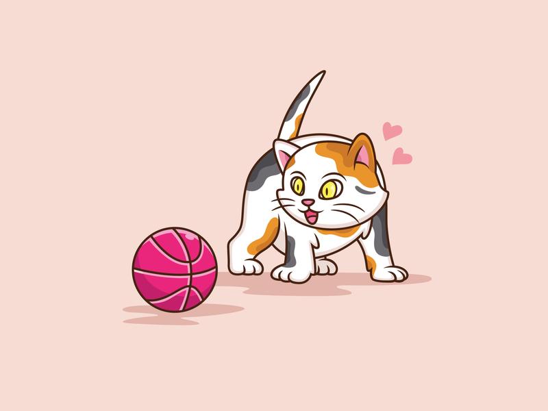 Cat and Ball 🐱 vector smile pastel color mascot character mascot love kawaii illustrator happy concept hand drawn cute character cat illustration cartoon dribbble background animal adobe illustrator cat