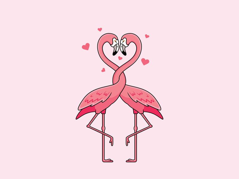 flamingos fall in love 🦩 💗 cute background animal couple sweet beautiful dribble adobe illustrator hand drawn pink love concept character mascot cartoon bird flamingo