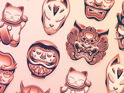 Neo-Kanto Items mask manga tengu daruma manekineko kitsune metal shiny chromed chrome yokai anime shonen japanese japan