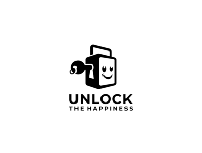 unlock the happiness design logoinspiration branding logo padlock smile happy keylogo key unlock