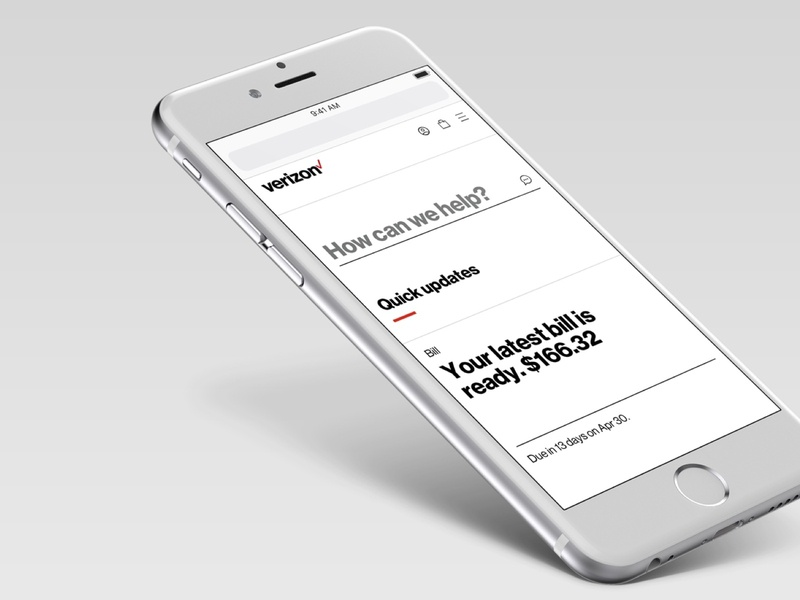 My Verizon Online - redesign mobile app account redesign telecommunication verizon