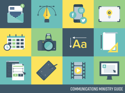 Communications Ministry Guide wacom video camera vector illustration icons pen tool design