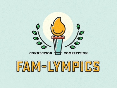 Fam-ylmpics competition children kids family flame laurel torch olympics