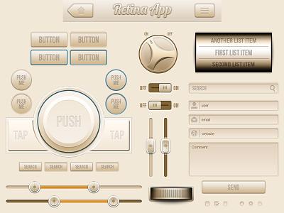 Cream UI - mobile interface kit retina web ui web elements buttons knobs retina app sliders form faders user interface