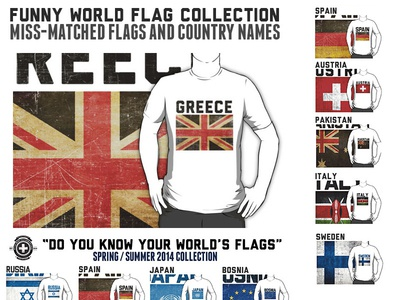 15 Funny World Flag design templates for T-shirts