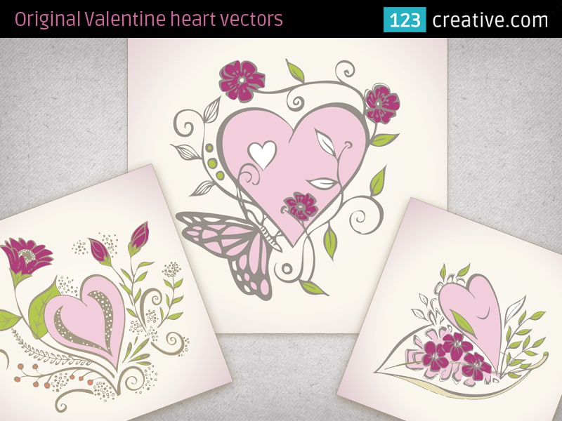 Beautiful Valentine Heart Vectors For Greeting Cards By 123creative